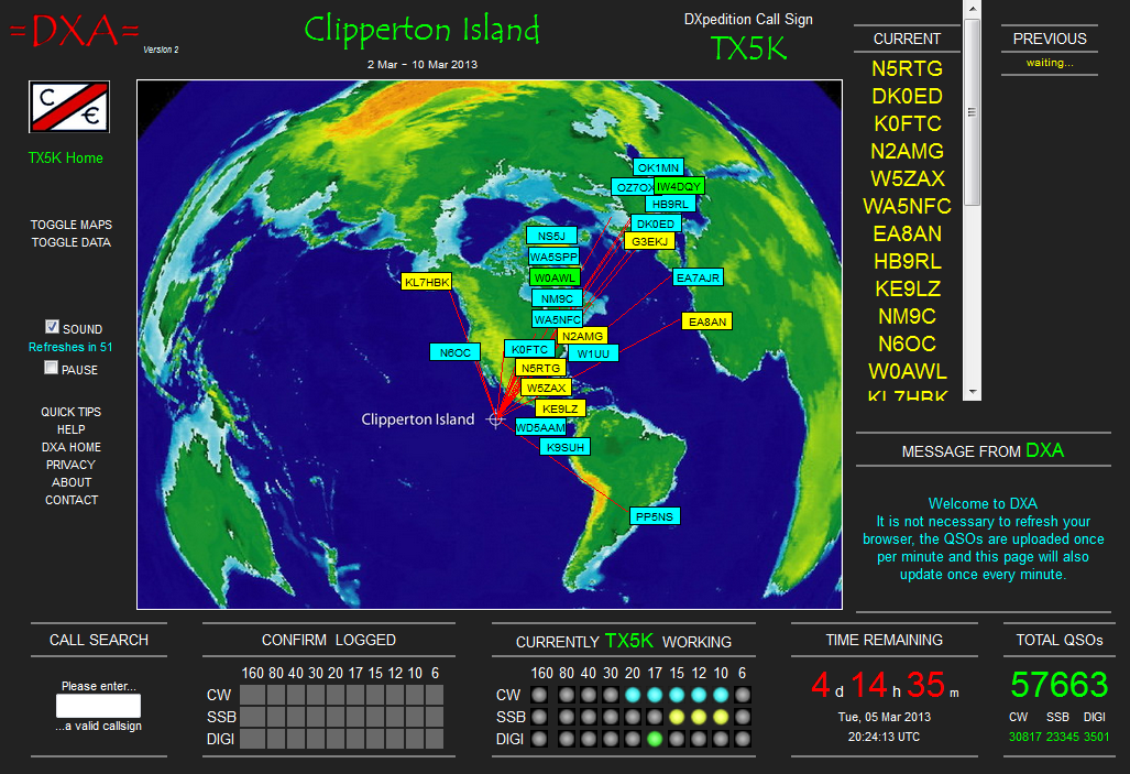 Follow TX5K Clipperton Island DXpedition 2013 in realtime !
